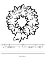 Welcome December Handwriting Sheet