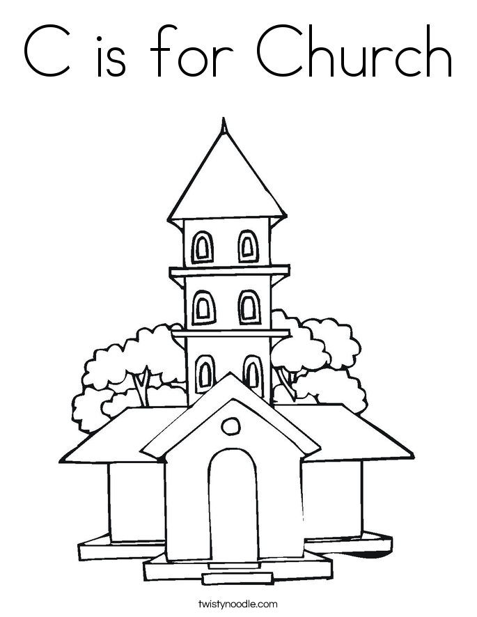 C is for Church Coloring Page Twisty Noodle