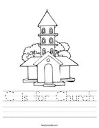 C is for Church Handwriting Sheet