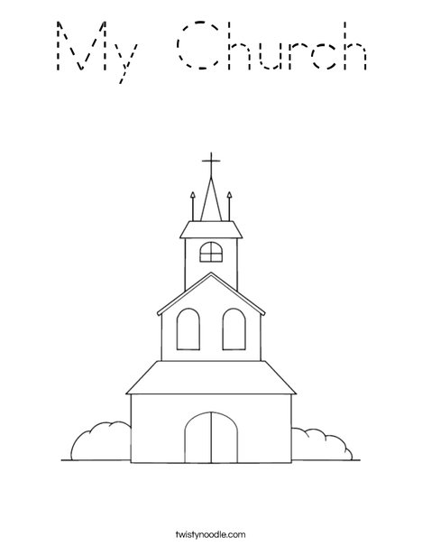 Church on a Hill Coloring Page