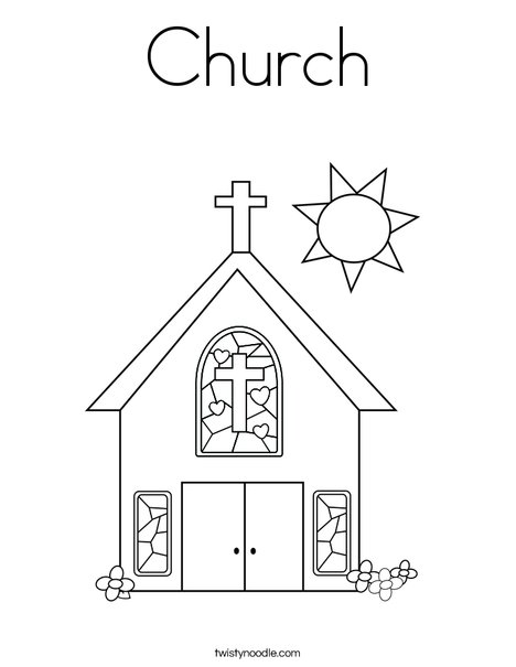 Church Coloring Page - Twisty Noodle