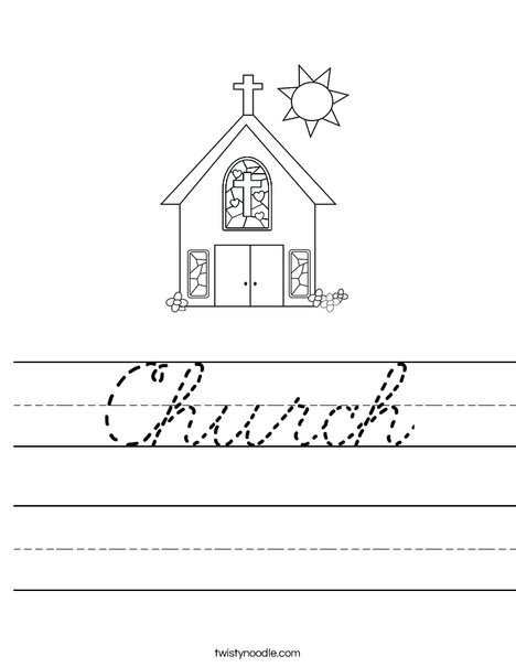 church worksheet cursive twisty noodle. Black Bedroom Furniture Sets. Home Design Ideas