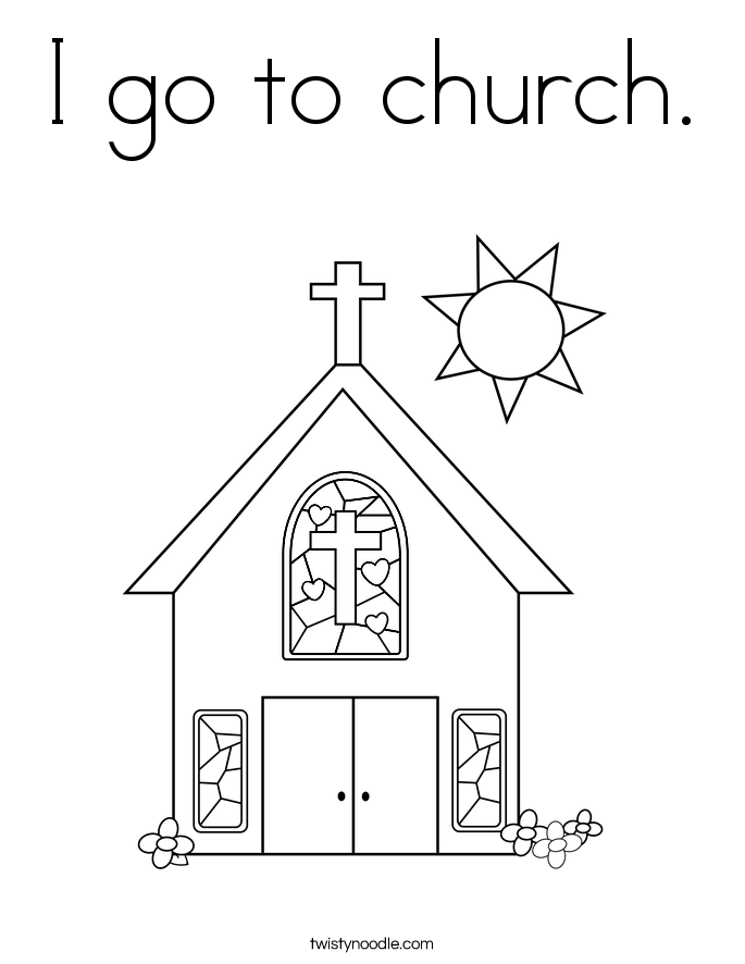 I go to church. Coloring Page
