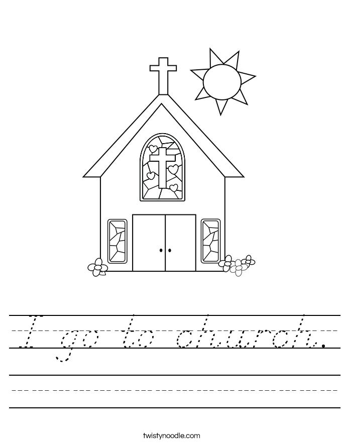 I go to church. Worksheet