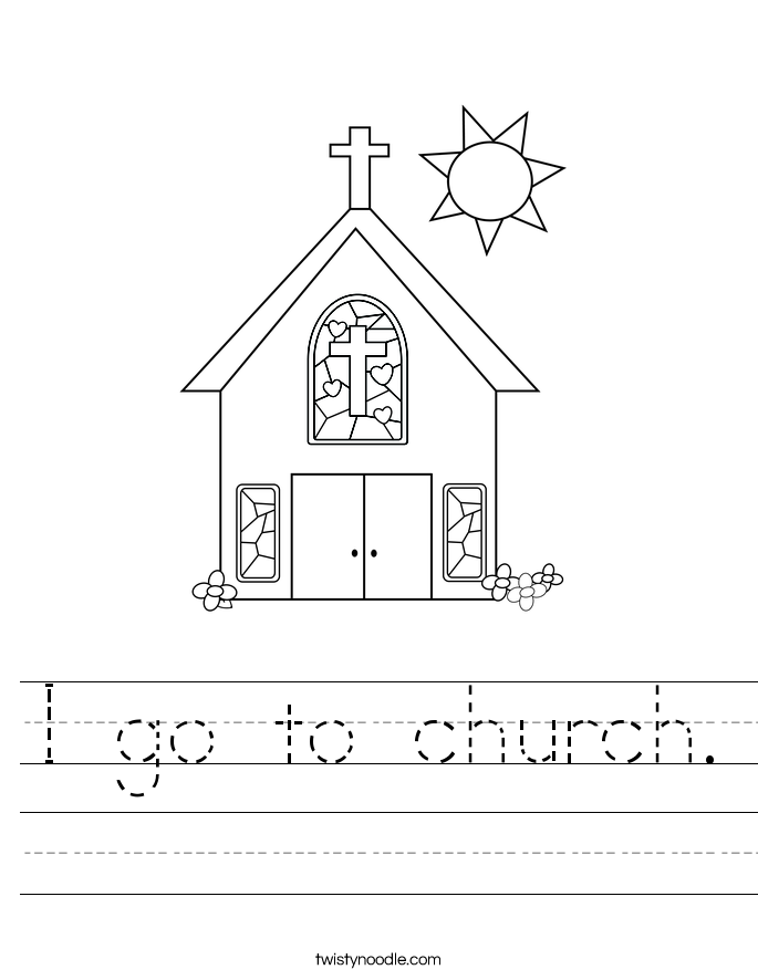 I go to church. Worksheet