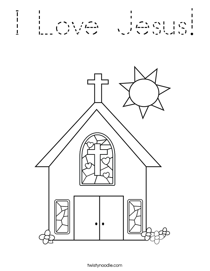 I Love Jesus Coloring Page Tracing