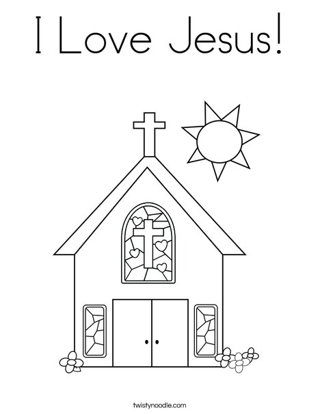 Church With Stained Glass Window Coloring Page