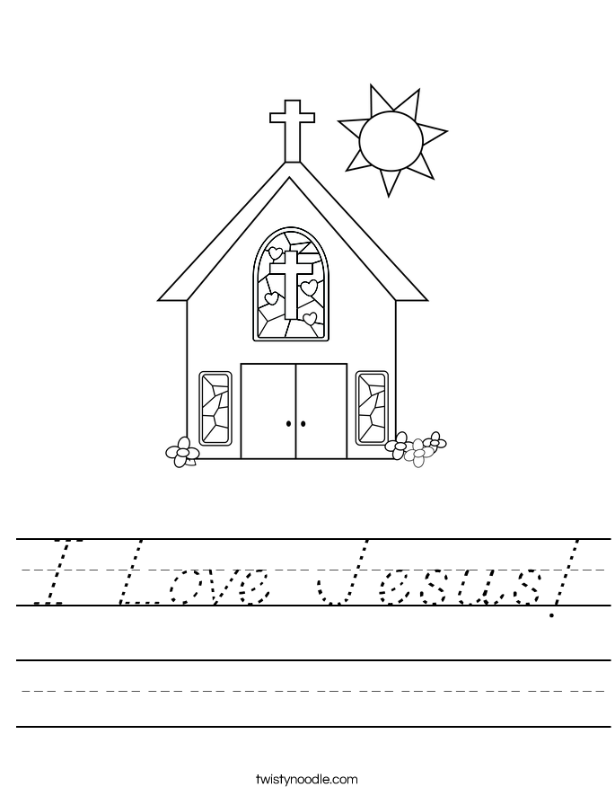 Love Jesus Worksheet - D'Nealian - Twisty Noodle
