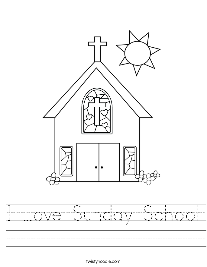 I Love Sunday School Worksheet - Twisty Noodle