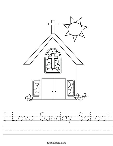 photo about Sunday School Printable Worksheets identified as I Enjoy Sunday College Worksheet - Twisty Noodle
