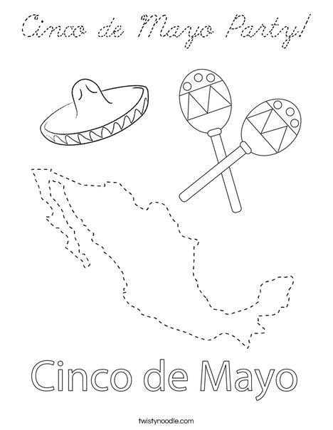 Cinco De Mayo Party Coloring Page