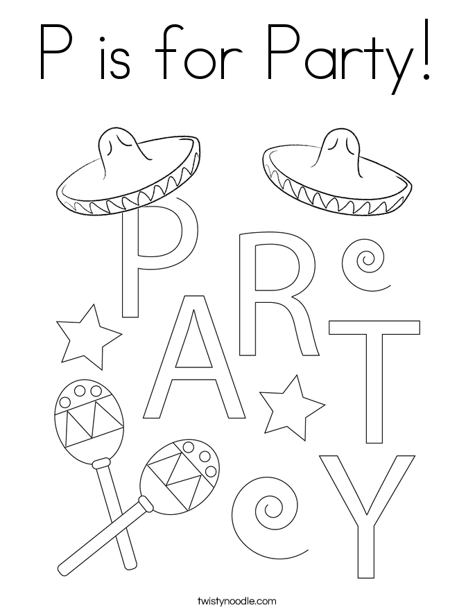 P is for Party! Coloring Page