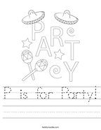 P is for Party Handwriting Sheet