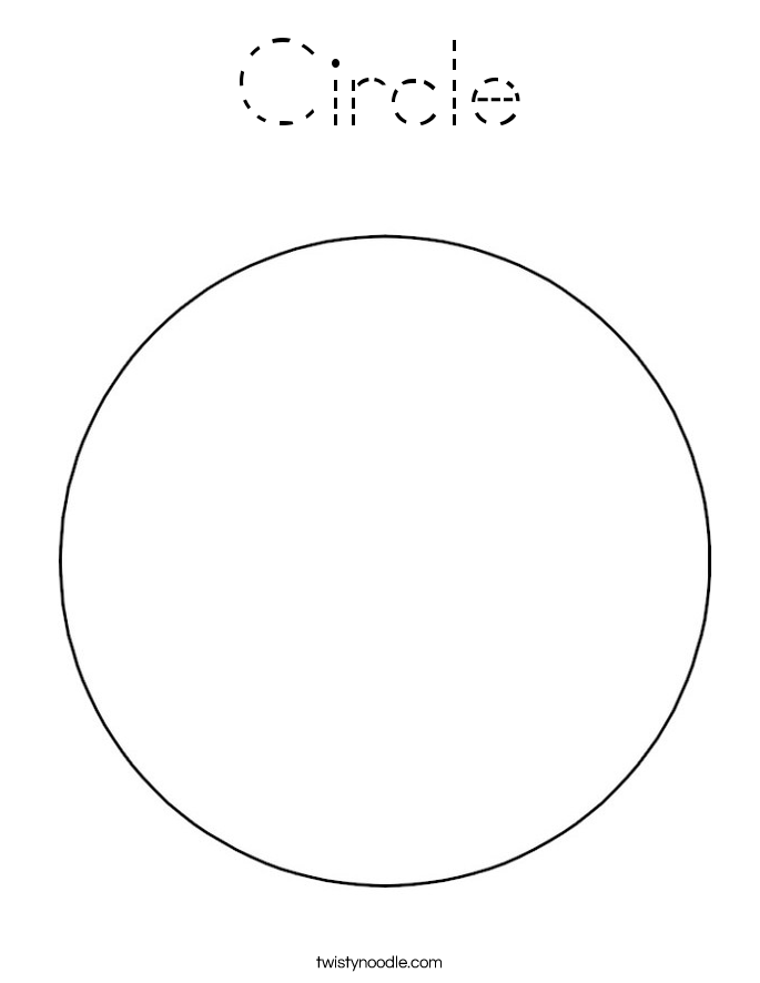 Circle Coloring Page - Tracing - Twisty Noodle