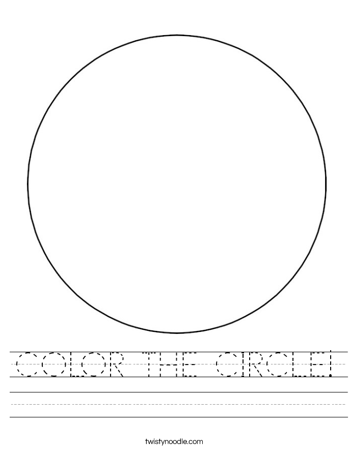 COLOR THE CIRCLE Worksheet Twisty Noodle – Circle Worksheet