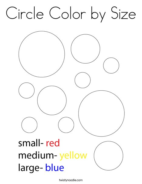 Circle Color by Size Coloring Page