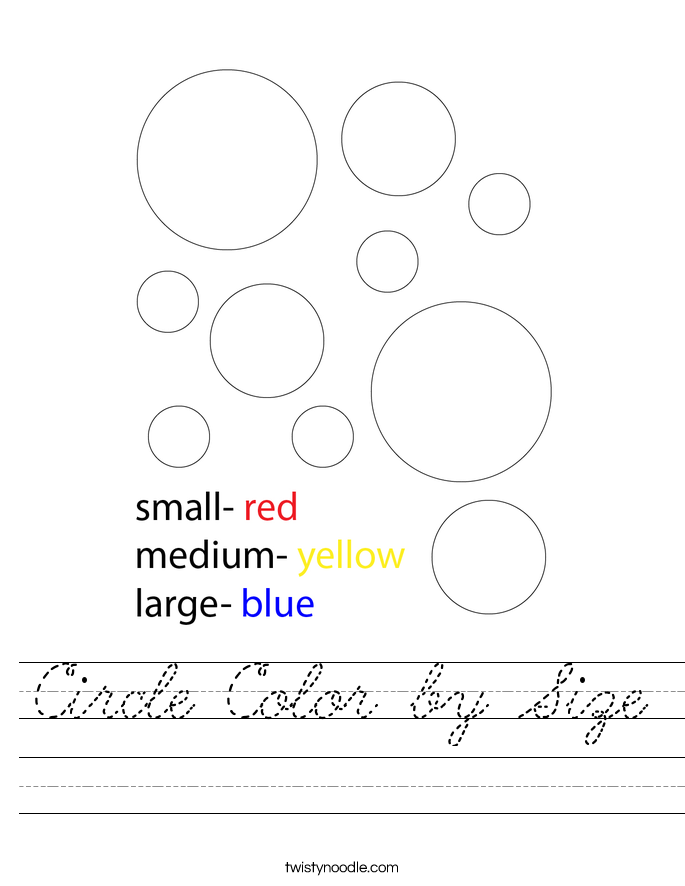 Circle Color by Size Worksheet