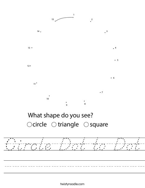 Circle Dot to Dot Worksheet
