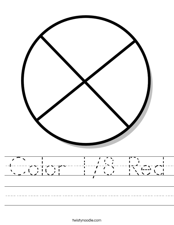 Color 1/8 Red Worksheet