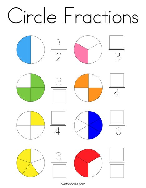 Circle Fractions Coloring Page