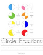 Circle Fractions Handwriting Sheet