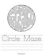 Circle Maze Handwriting Sheet