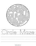 Circle Maze Handwriting Sheet