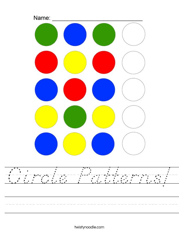 Circle Patterns Worksheet - D'Nealian - Twisty Noodle