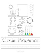 Circle Placemat Handwriting Sheet