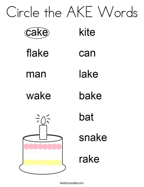 Circle the AKE Words. Coloring Page