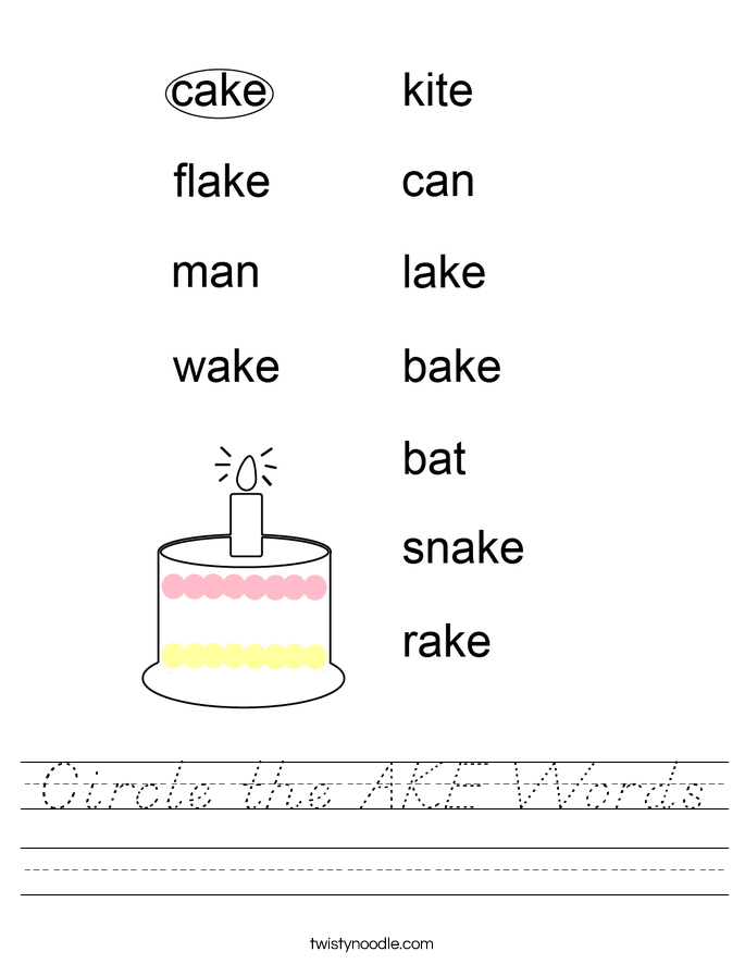 Circle the AKE Words Worksheet