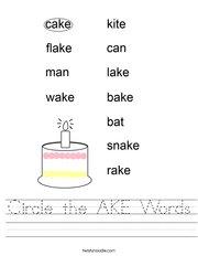 Circle the AKE Words Handwriting Sheet