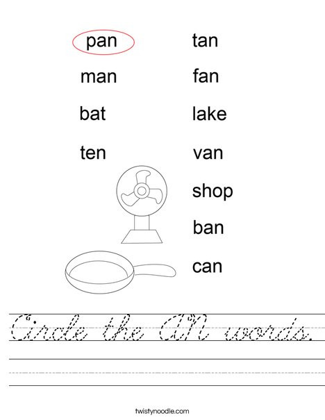 Circle the AN words. Worksheet