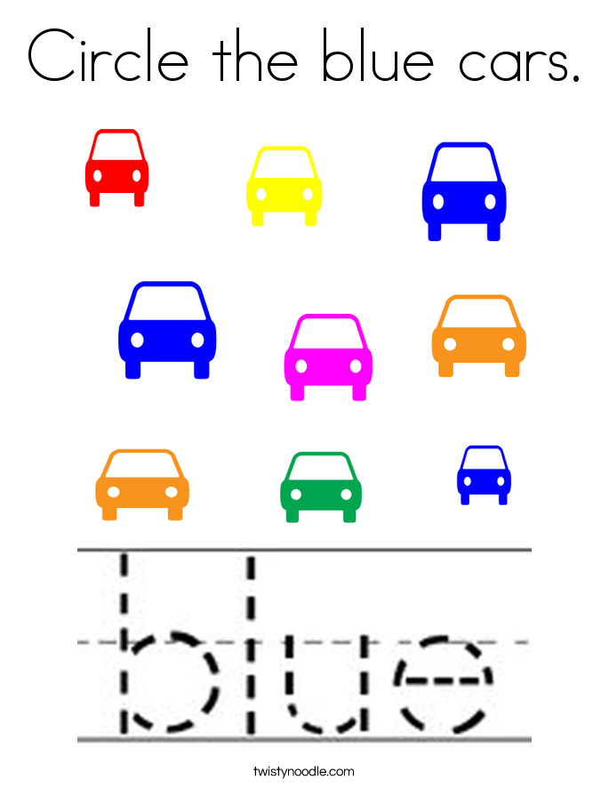 Circle the blue cars. Coloring Page