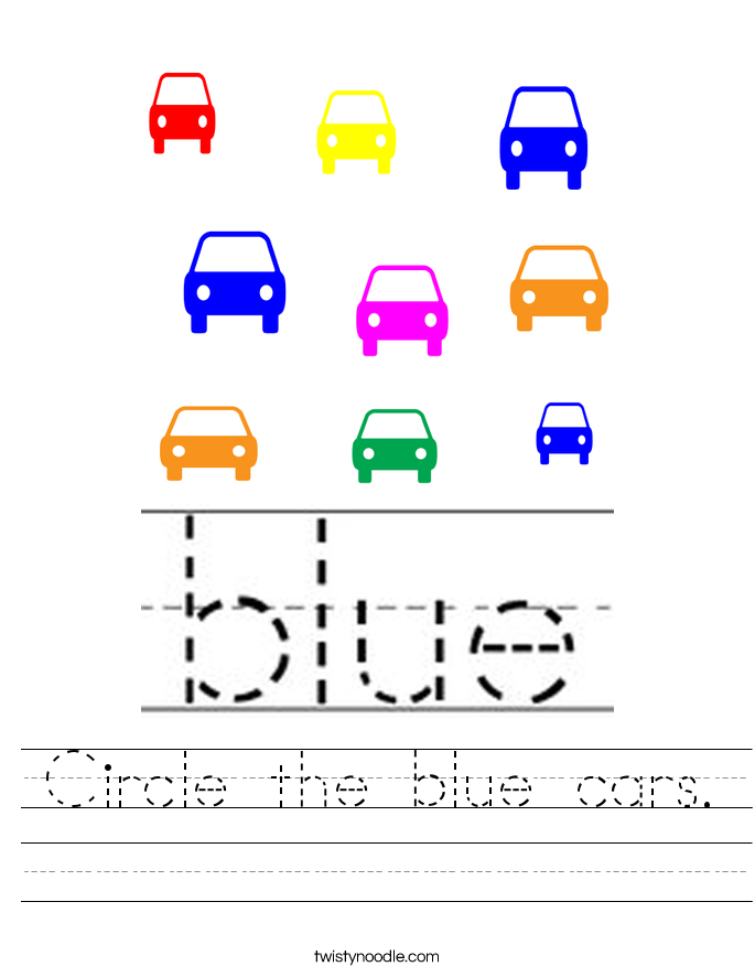 Circle the blue cars. Worksheet