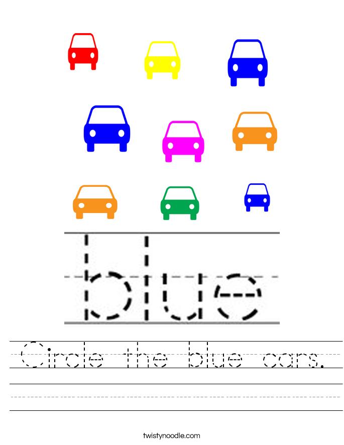 Circle the blue cars. Worksheet