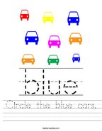 Circle the blue cars Handwriting Sheet