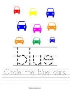 Circle the blue cars Handwriting Sheet