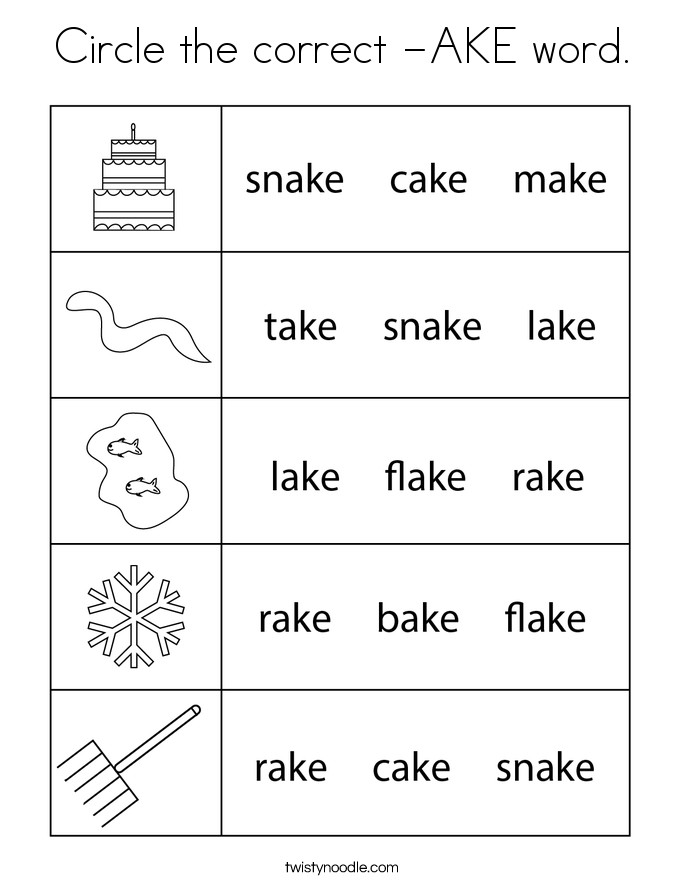 Circle the correct -AKE word. Coloring Page