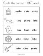Circle the correct -AKE word Coloring Page