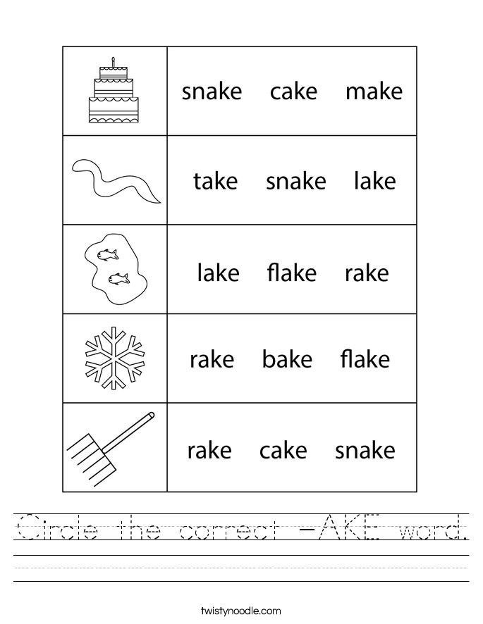 Circle the correct -AKE word. Worksheet