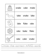 Circle the correct -AKE word Handwriting Sheet
