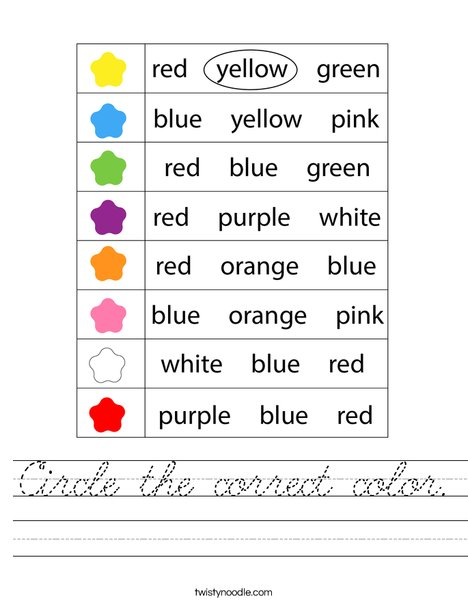 Circle the correct color. Worksheet