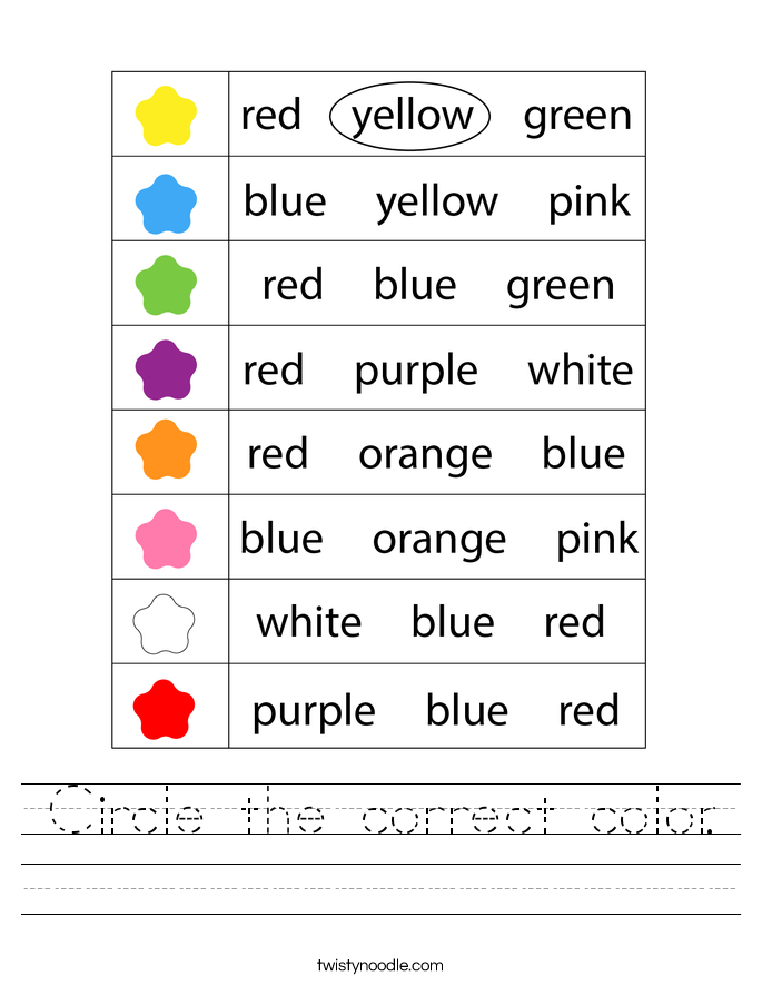 Circle the correct color. Worksheet