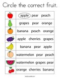 Circle the correct fruit. Coloring Page