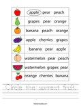 Circle the correct fruit. Worksheet