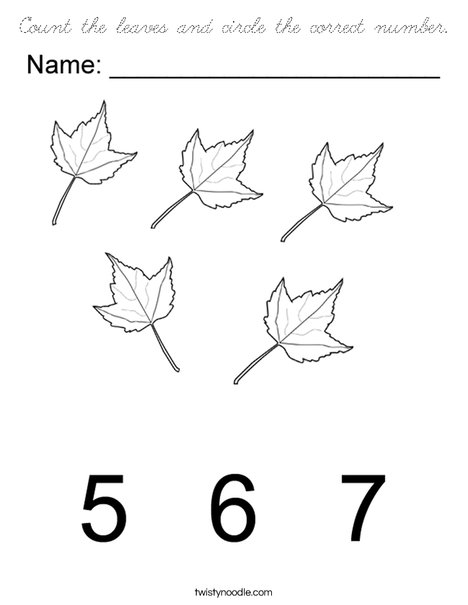 Circle the correct number of leaves Coloring Page