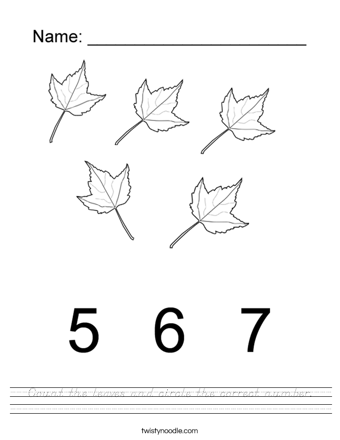 Count the leaves and circle the correct number. Worksheet