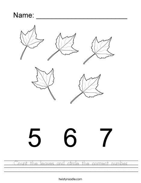 Circle the correct number of leaves Worksheet