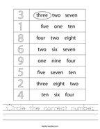Circle the correct number Handwriting Sheet